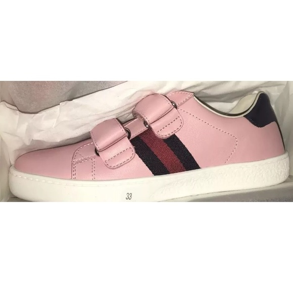 GUCCI ACE GIRLS ROSE PINK SNEAKERS SZ 2US EU 33 NWT